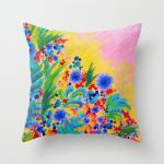 NATURAL ROMANCE in PINK - Original Art Throw Pillow Cover 18 x 18 Floral Garden Sweet Feminine Colorful Rainbow Flowers Painting
