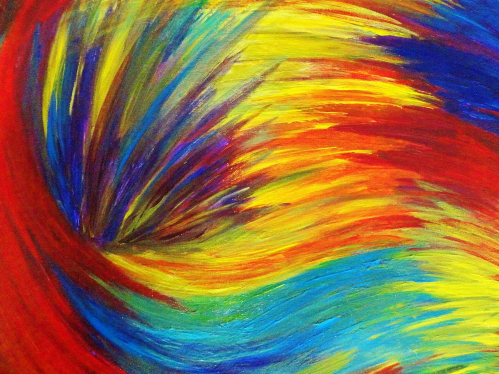 Original RAINBOW Acrylic Painting Abstract 16 x 20 Canvas FREE SHIPPING Beautiful Summer Waves Technicolour Neon Modern Art Stunning